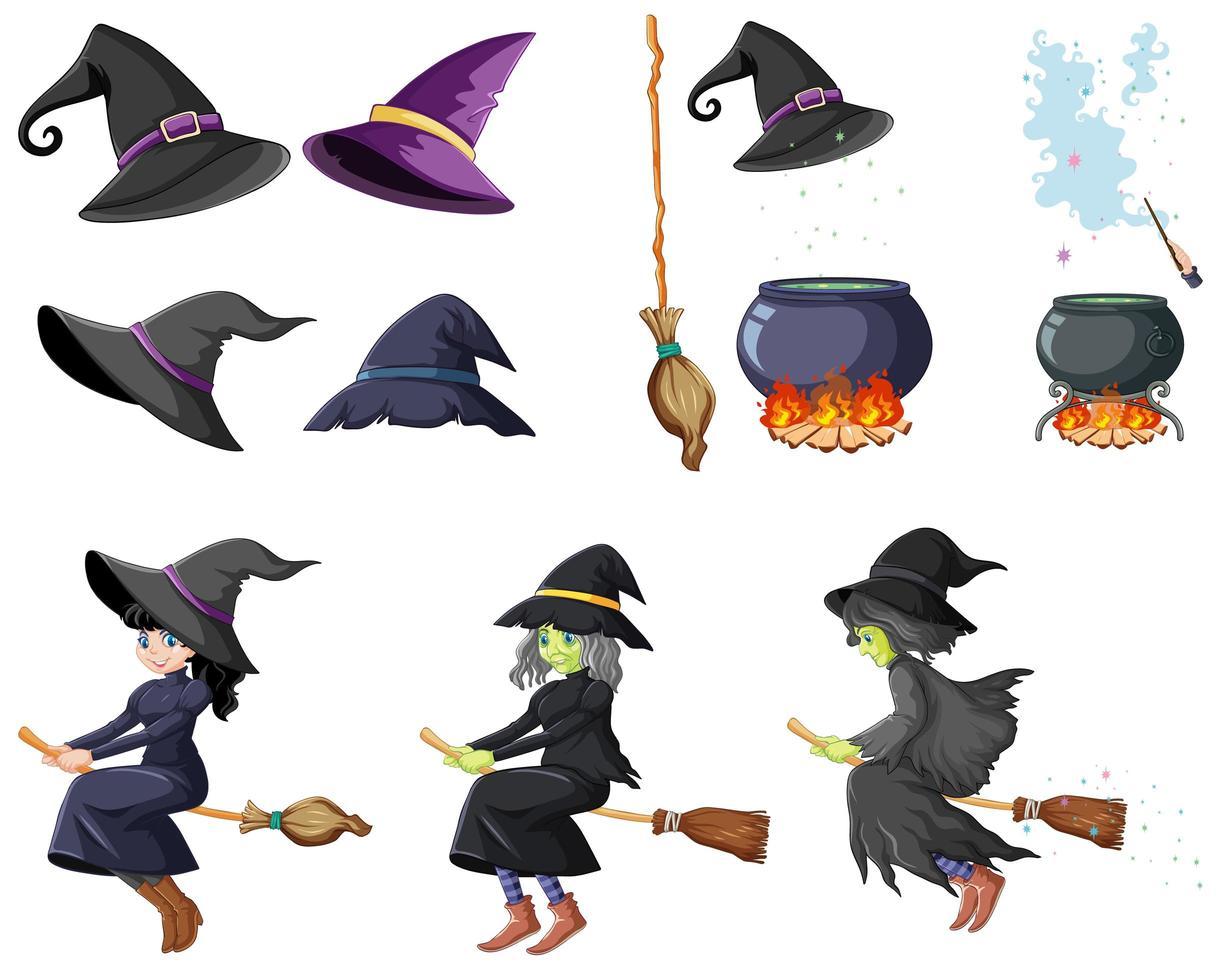 Conjunto de herramientas de mago o brujas estilo de dibujos animados aislado sobre fondo blanco. vector