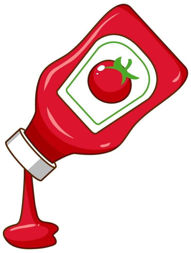 Botella de salsa de tomate sobre fondo blanco. vector