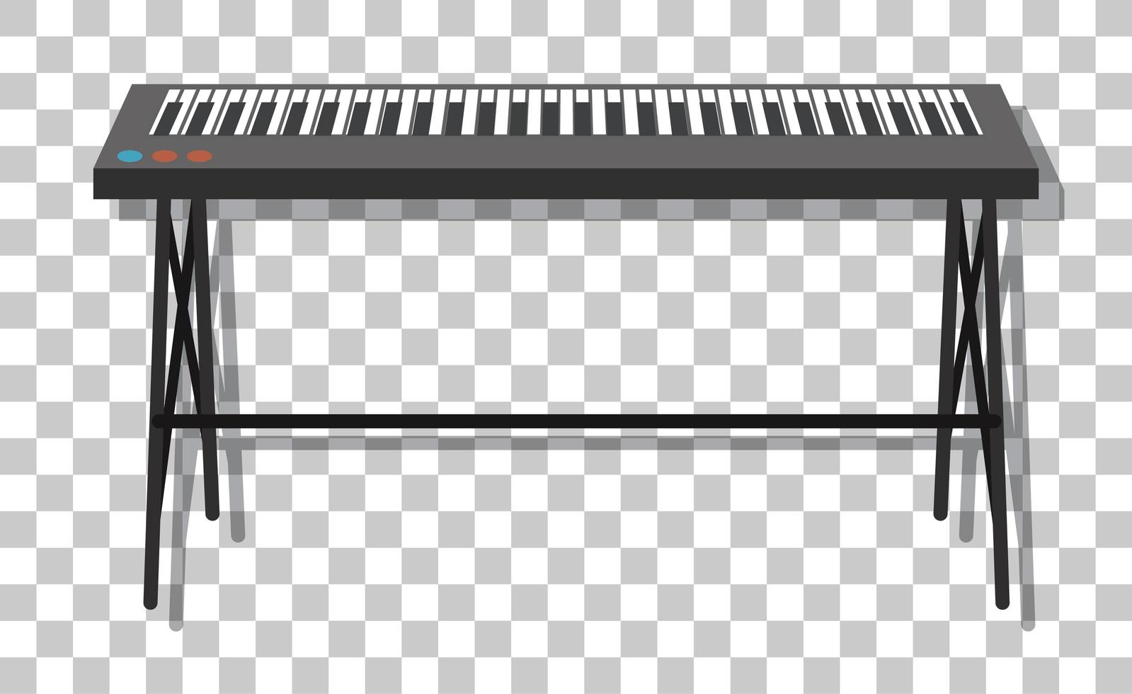 Piano electrónico con soporte metálico aislado sobre fondo transparente vector