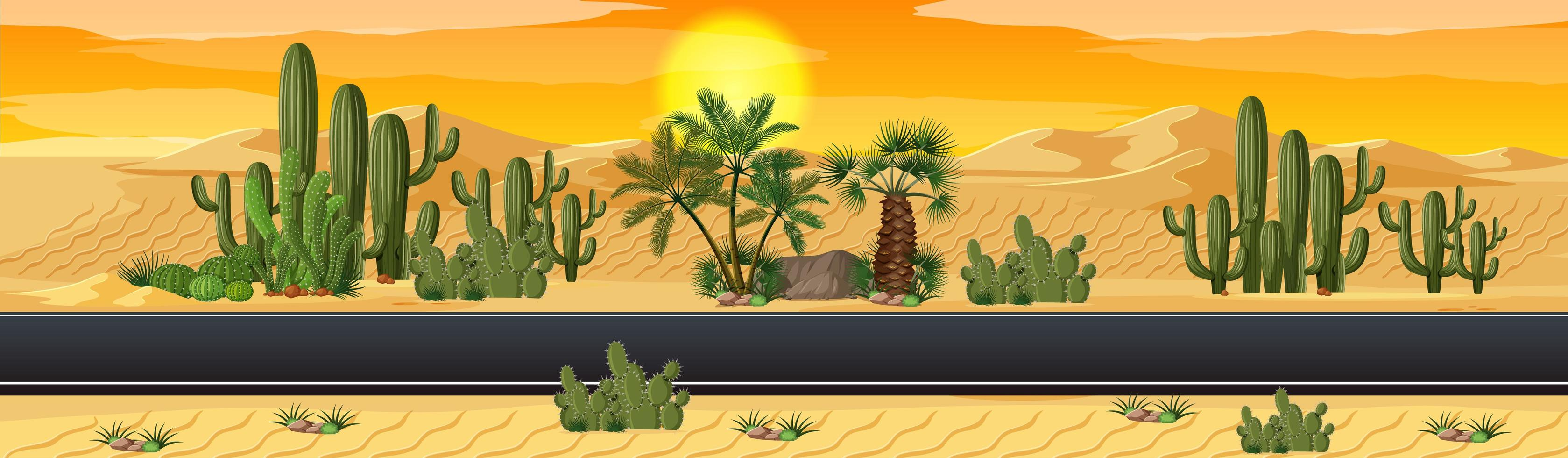 Desert with road nature landscape scene vector