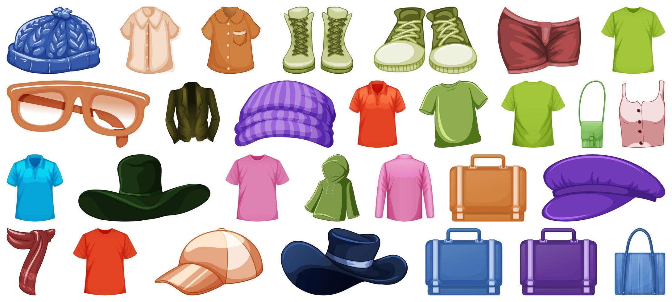 Conjunto de trajes y accesorios de moda sobre fondo blanco. vector