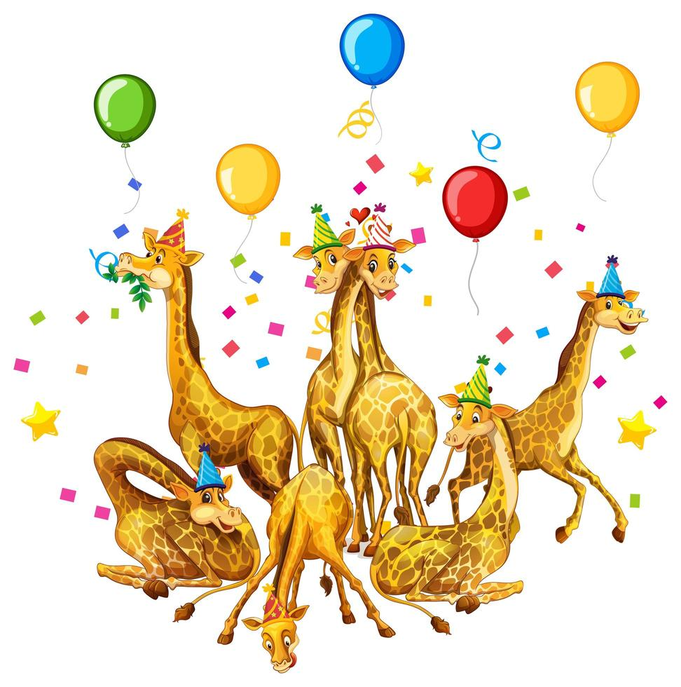 Grupo de jirafas en personaje de dibujos animados de tema de fiesta sobre fondo blanco vector