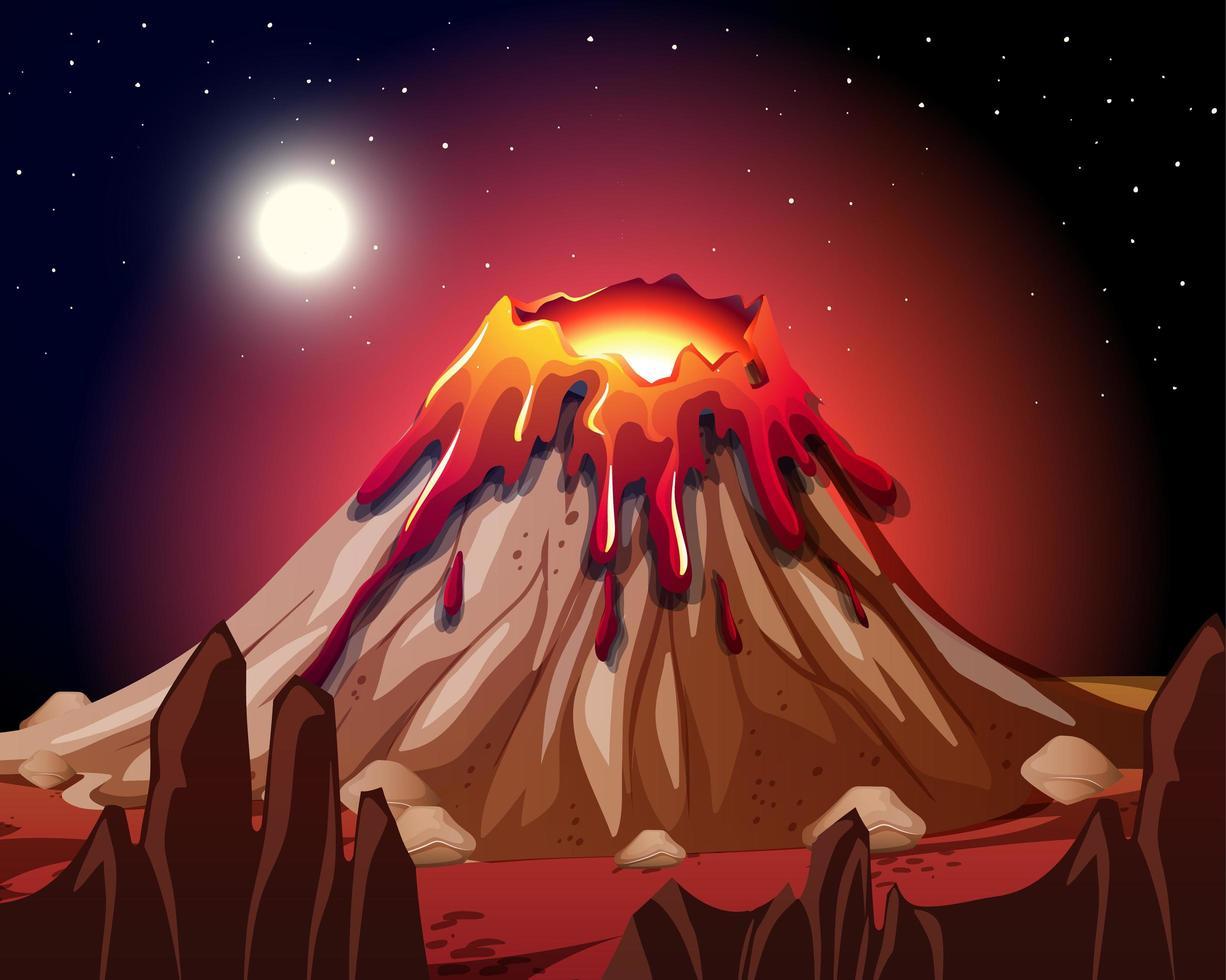 erupción del volcán en la escena de la naturaleza en la noche vector