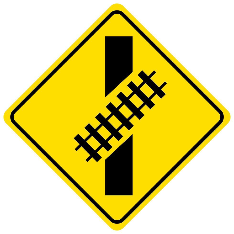 Señal de tráfico de cruce ferroviario sobre fondo blanco. vector