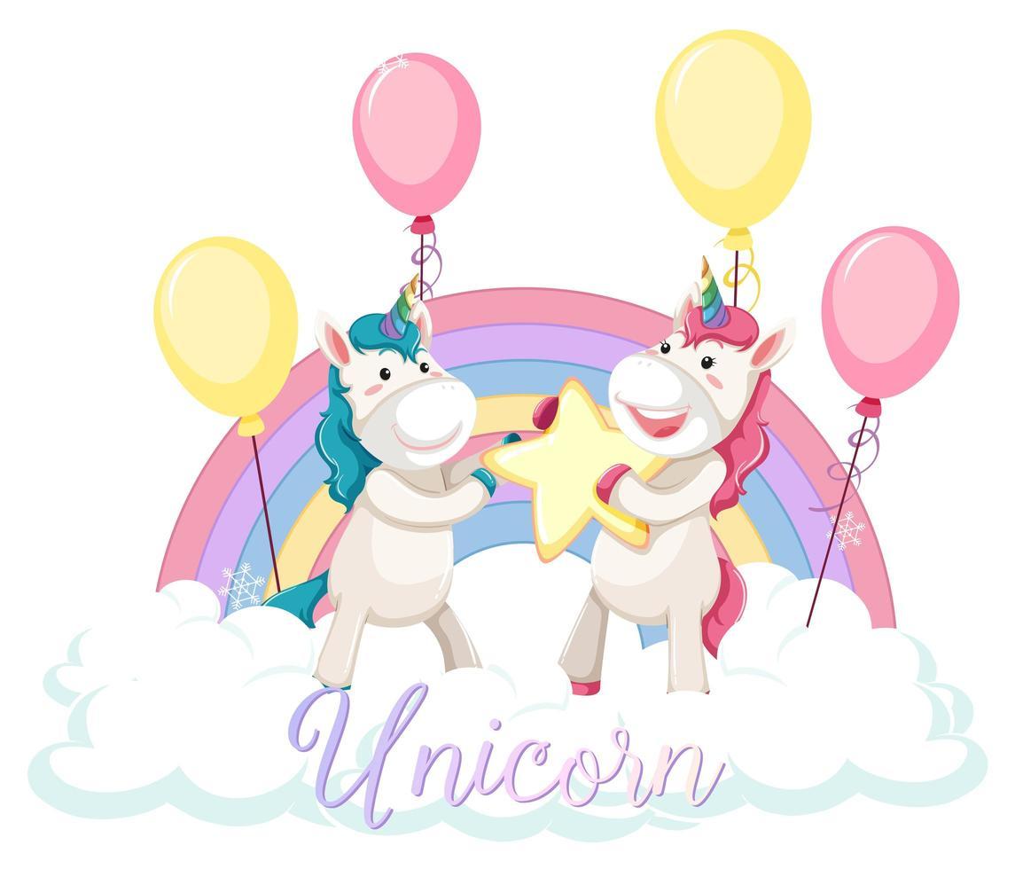Lindo unicornio de pie sobre la nube con arco iris pastel aislado sobre fondo blanco. vector