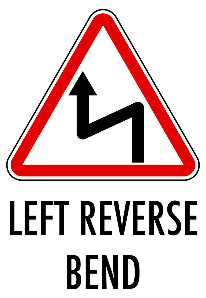 Signo de curva inversa izquierda aislado sobre fondo blanco. vector