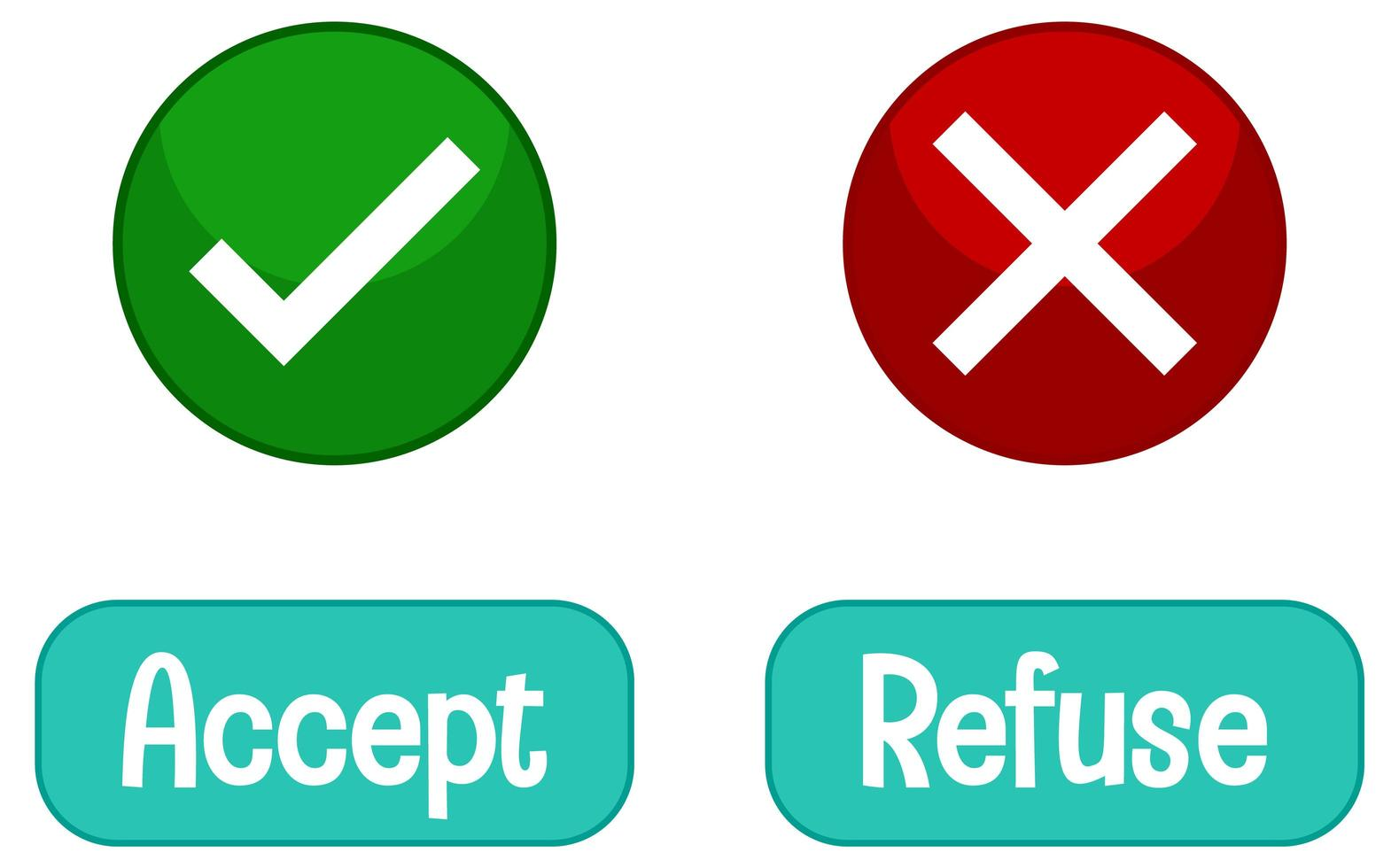 Opposite words with accept and refuse vector