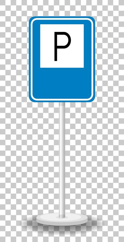 Señal de estacionamiento con soporte aislado sobre fondo transparente vector