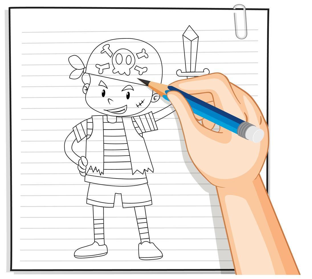 dibujo a mano de niña sosteniendo el contorno del paraguas vector