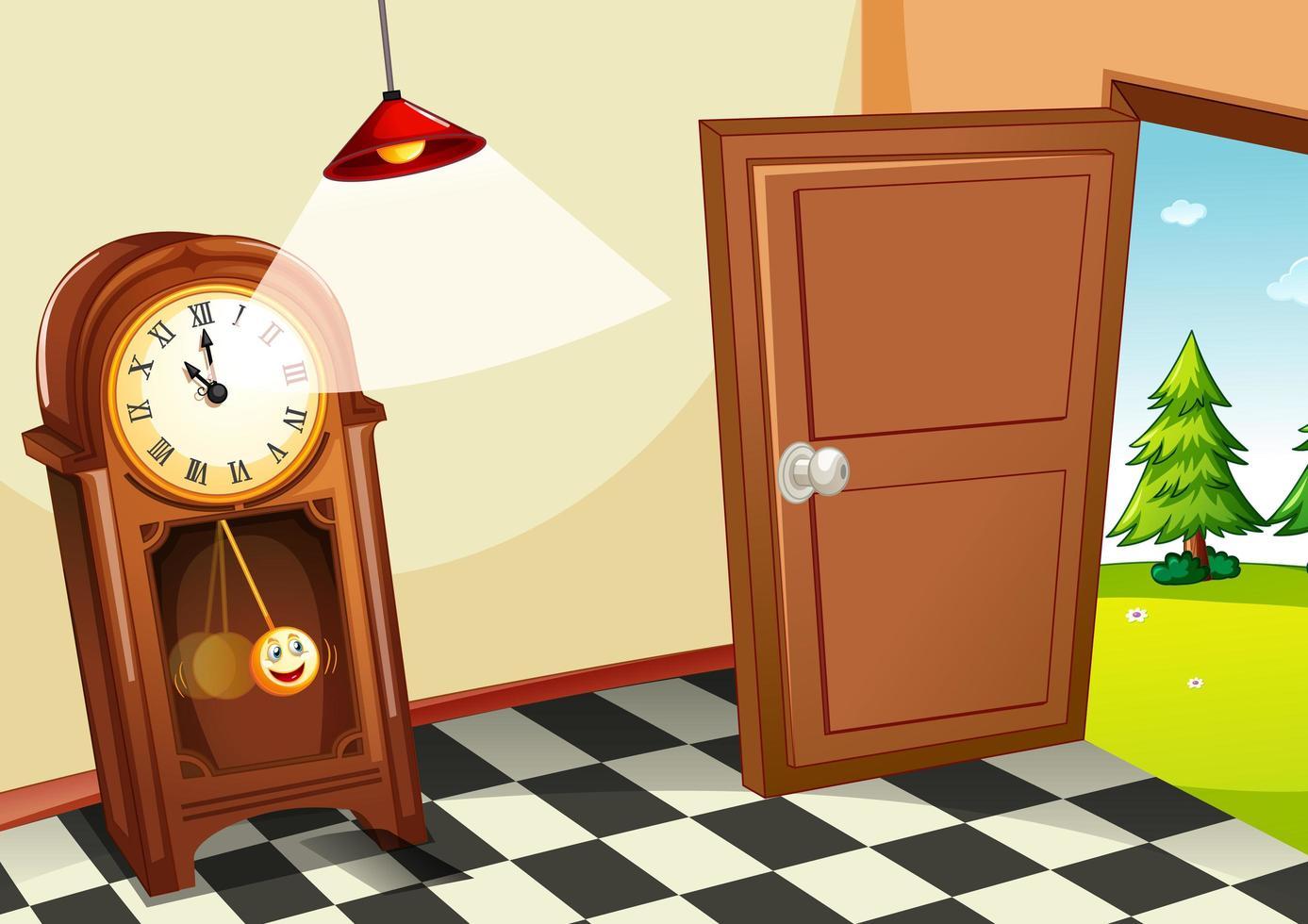 reloj de madera vintage en la habitación vector