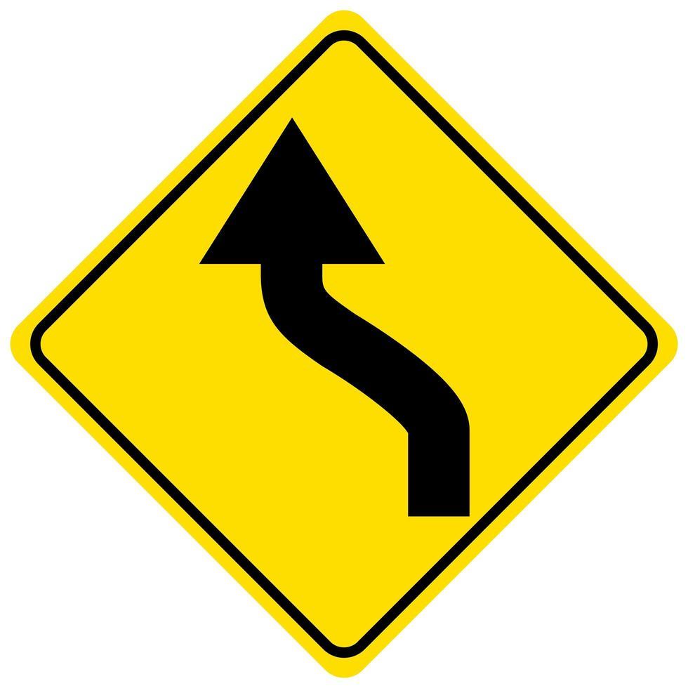 Advertencia de un letrero amarillo de doble curva sobre fondo blanco. vector