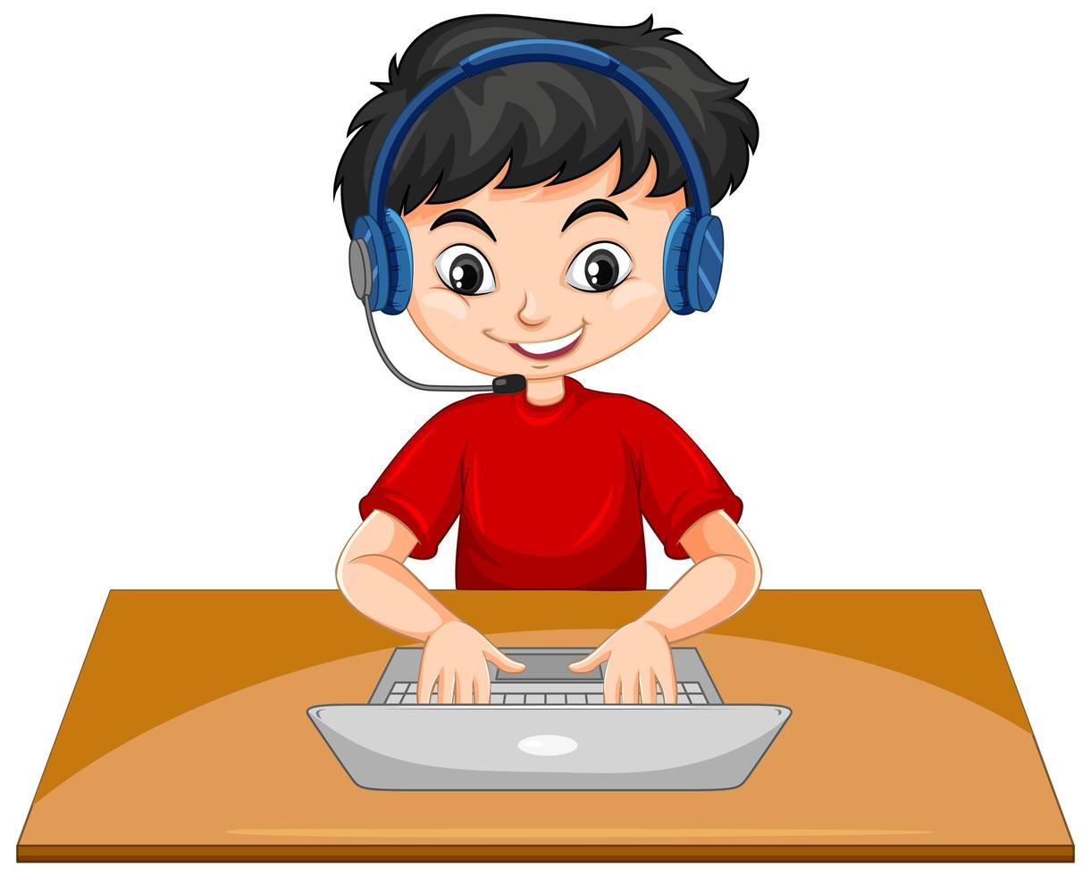 Un niño con un portátil sobre la mesa sobre fondo blanco. vector