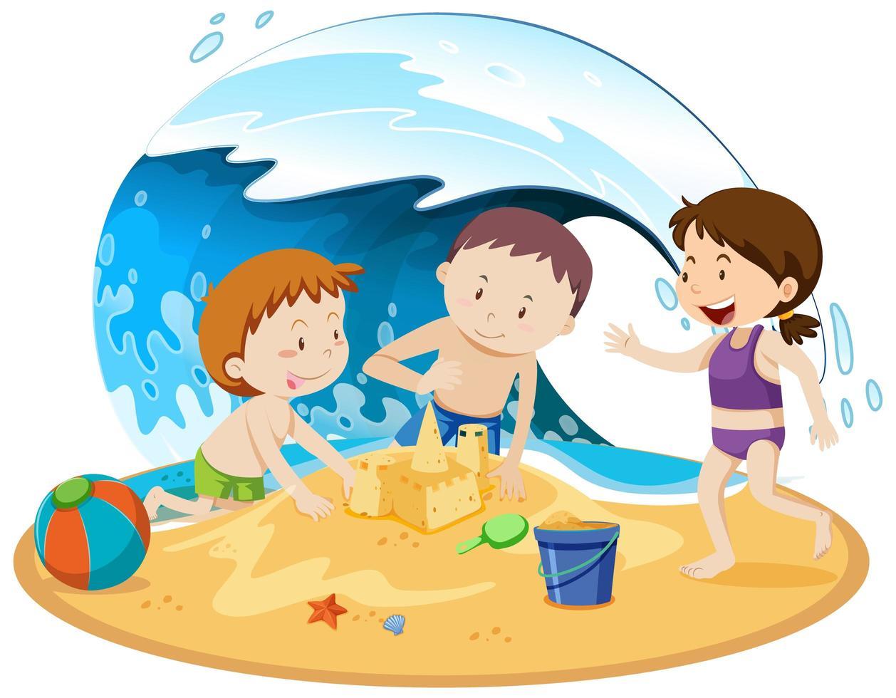 gente aislada en la playa vector