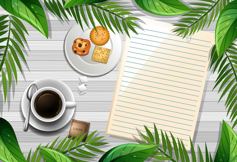 Vista superior de la mesa de madera con papel en blanco y una taza de café y hojas de elemento vector
