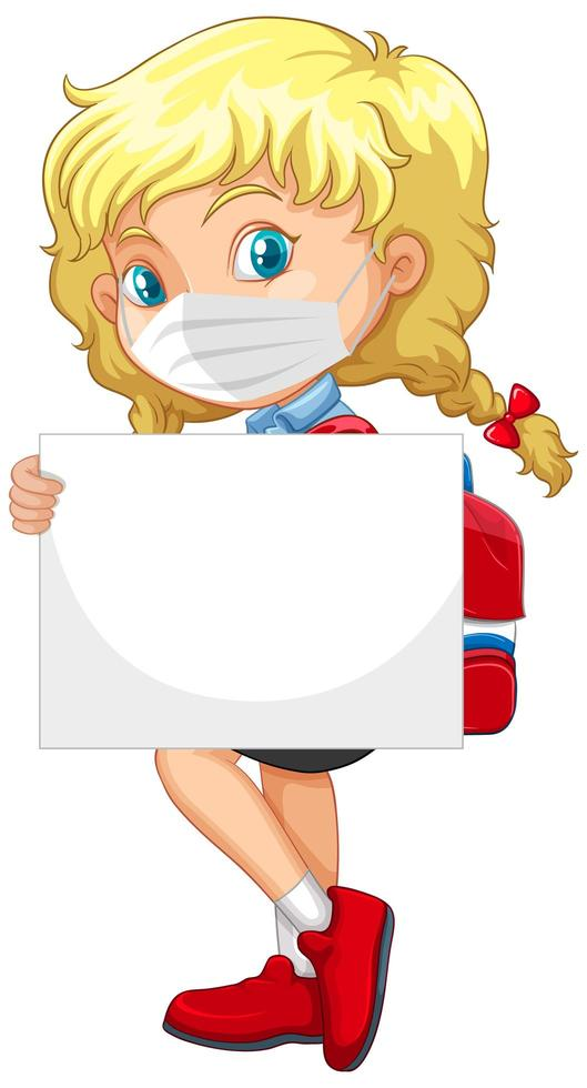lindo personaje de dibujos animados de niña con pancarta en blanco vector