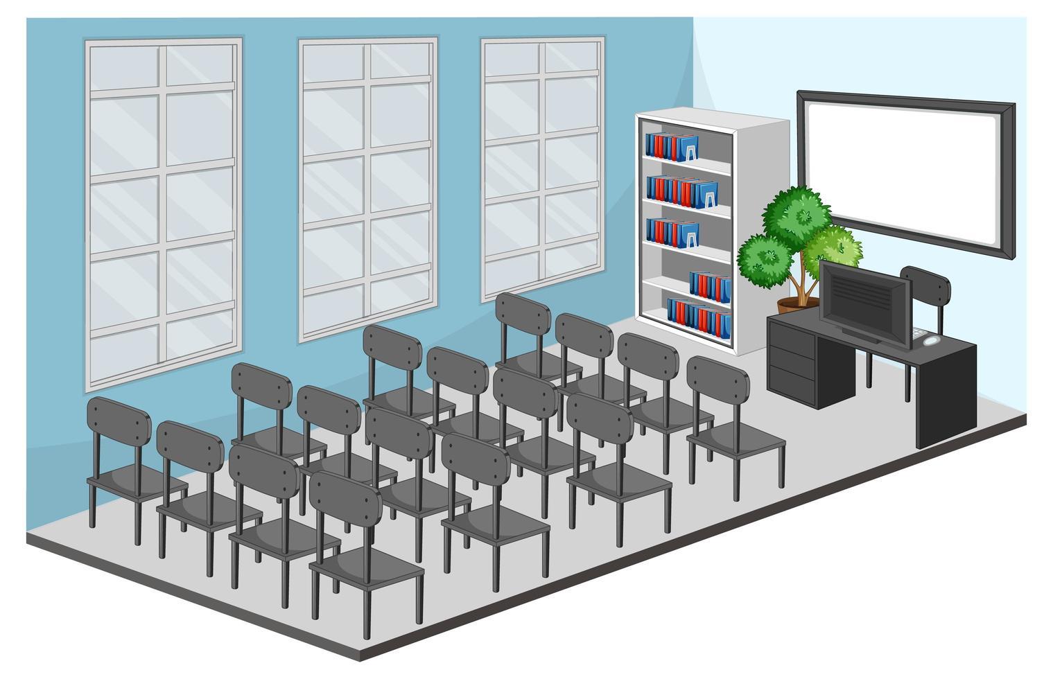 sala de reuniones o interior del aula con muebles vector