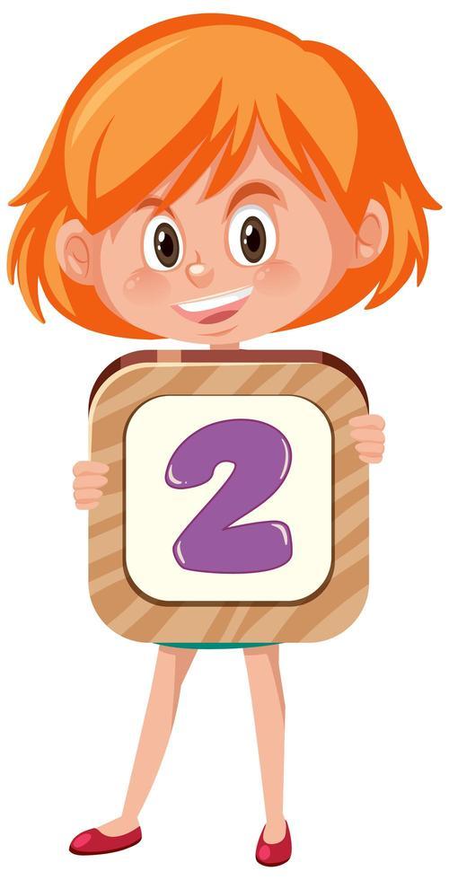 Chica estudiante sosteniendo el personaje de dibujos animados número aislado sobre fondo blanco. vector