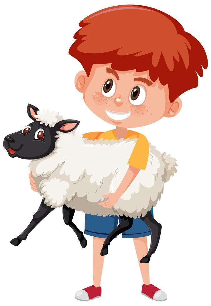 niño sosteniendo lindo personaje de dibujos animados de animales aislado sobre fondo blanco vector