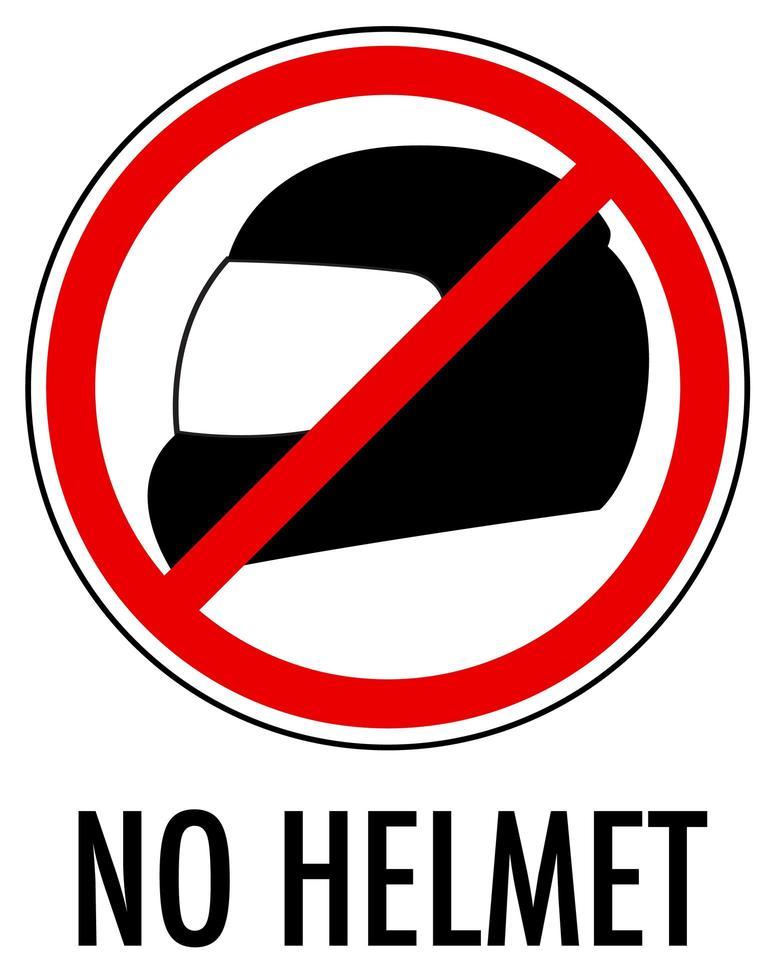 Ningún signo de casco aislado sobre fondo blanco. vector