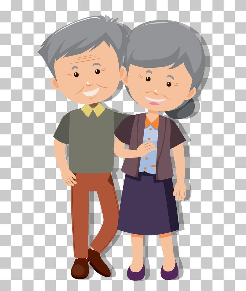 Pareja de ancianos en pose de pie aislado sobre fondo transparente vector