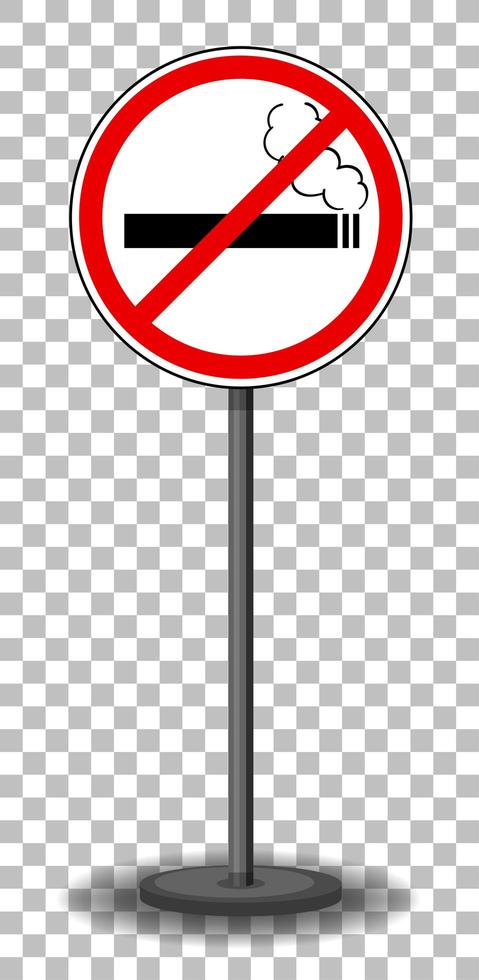 Señal de prohibido fumar con soporte aislado sobre fondo transparente vector
