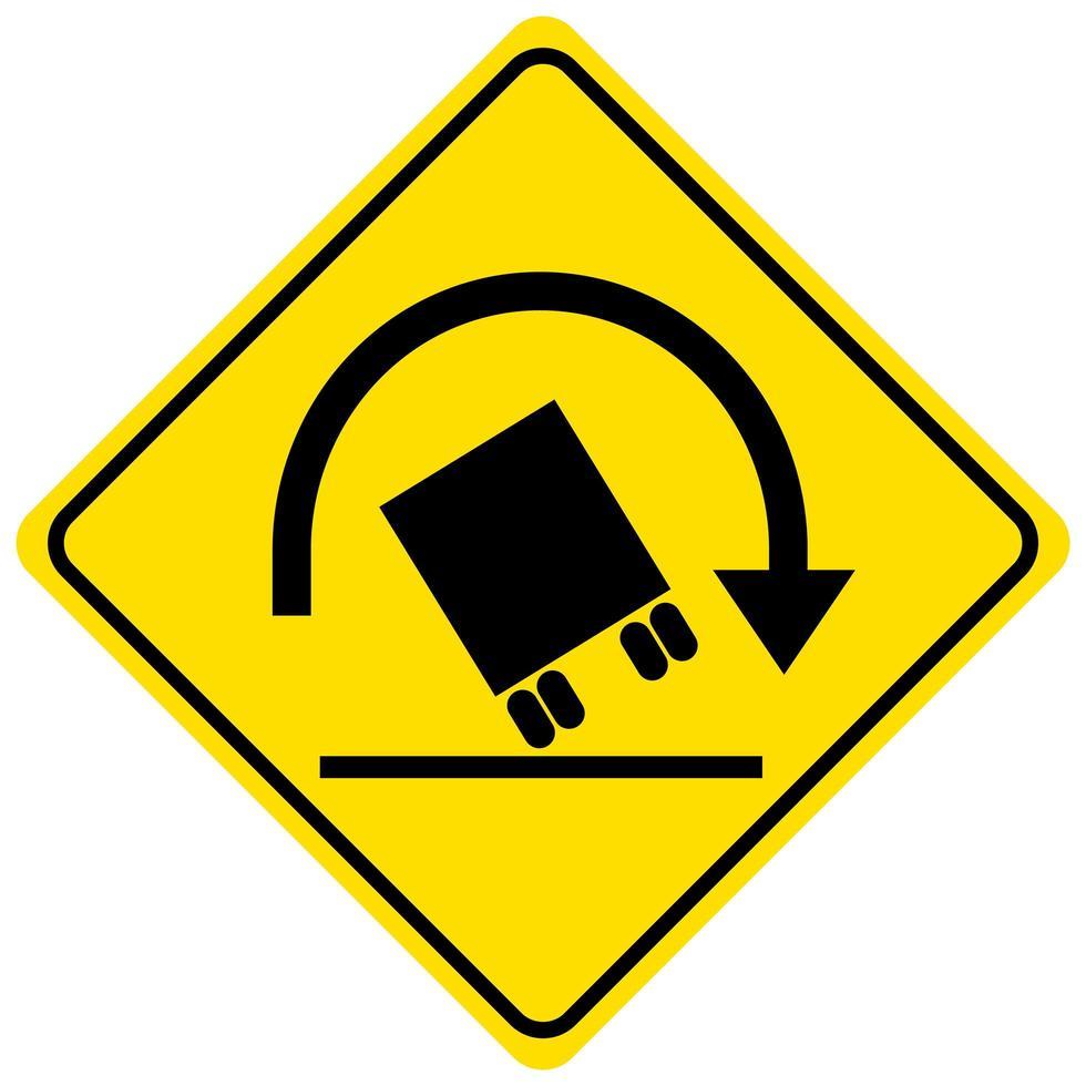 Señal de advertencia de vuelco de camiones sobre fondo blanco. vector