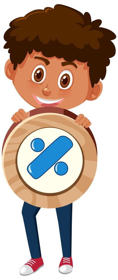 Chico estudiante sosteniendo el símbolo de matemáticas básicas o el personaje de dibujos animados de signo aislado sobre fondo blanco vector