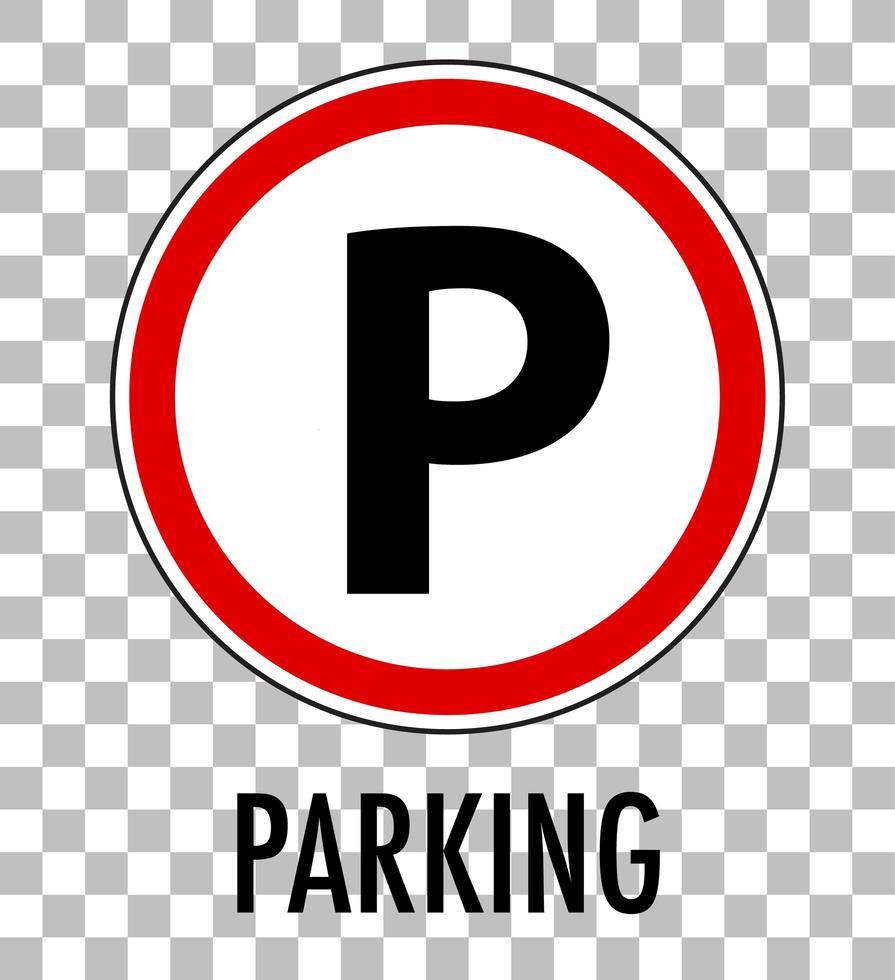 señal de estacionamiento aislada sobre fondo transparente vector