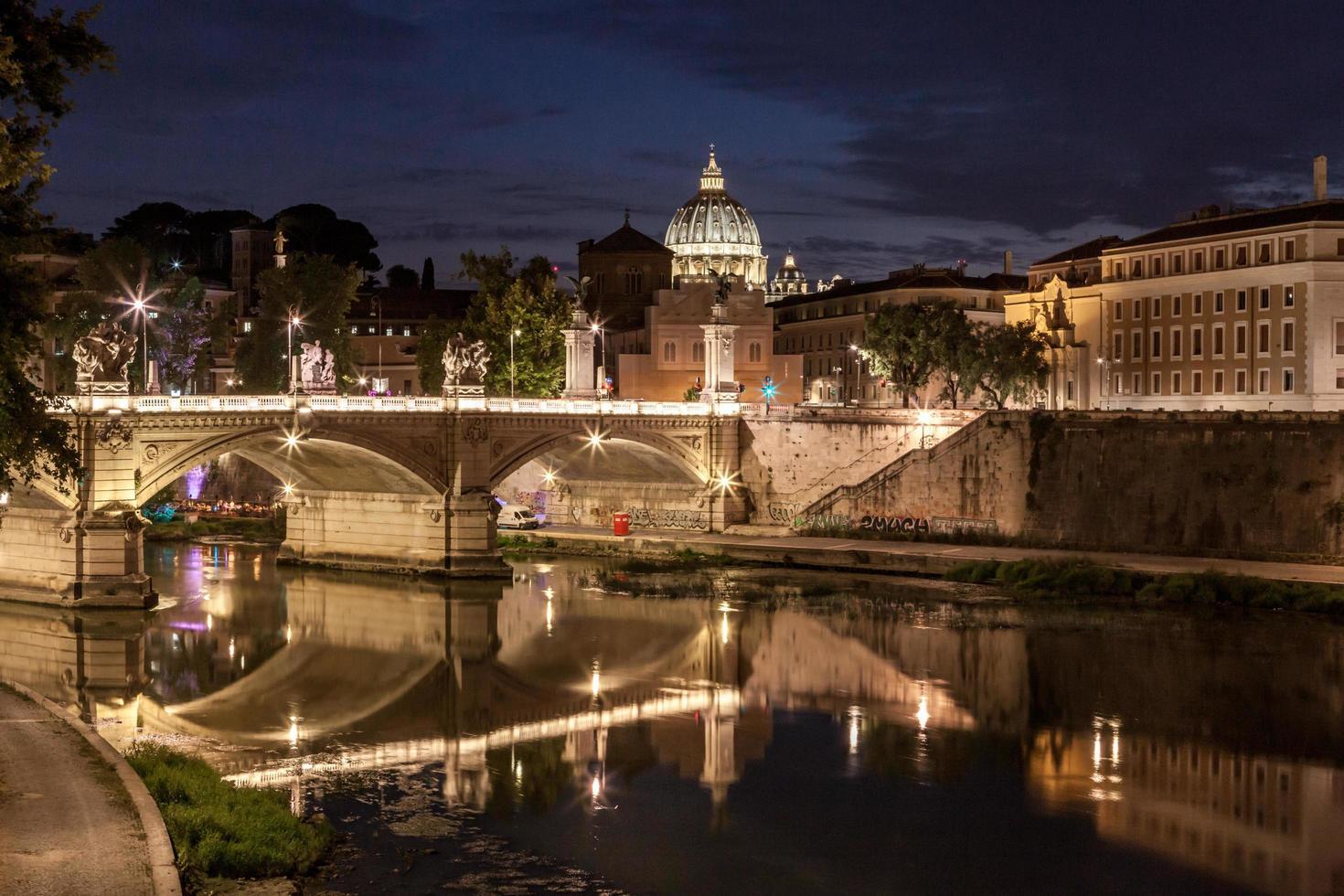 Rome, Italy, 2020 - Bridge at night photo