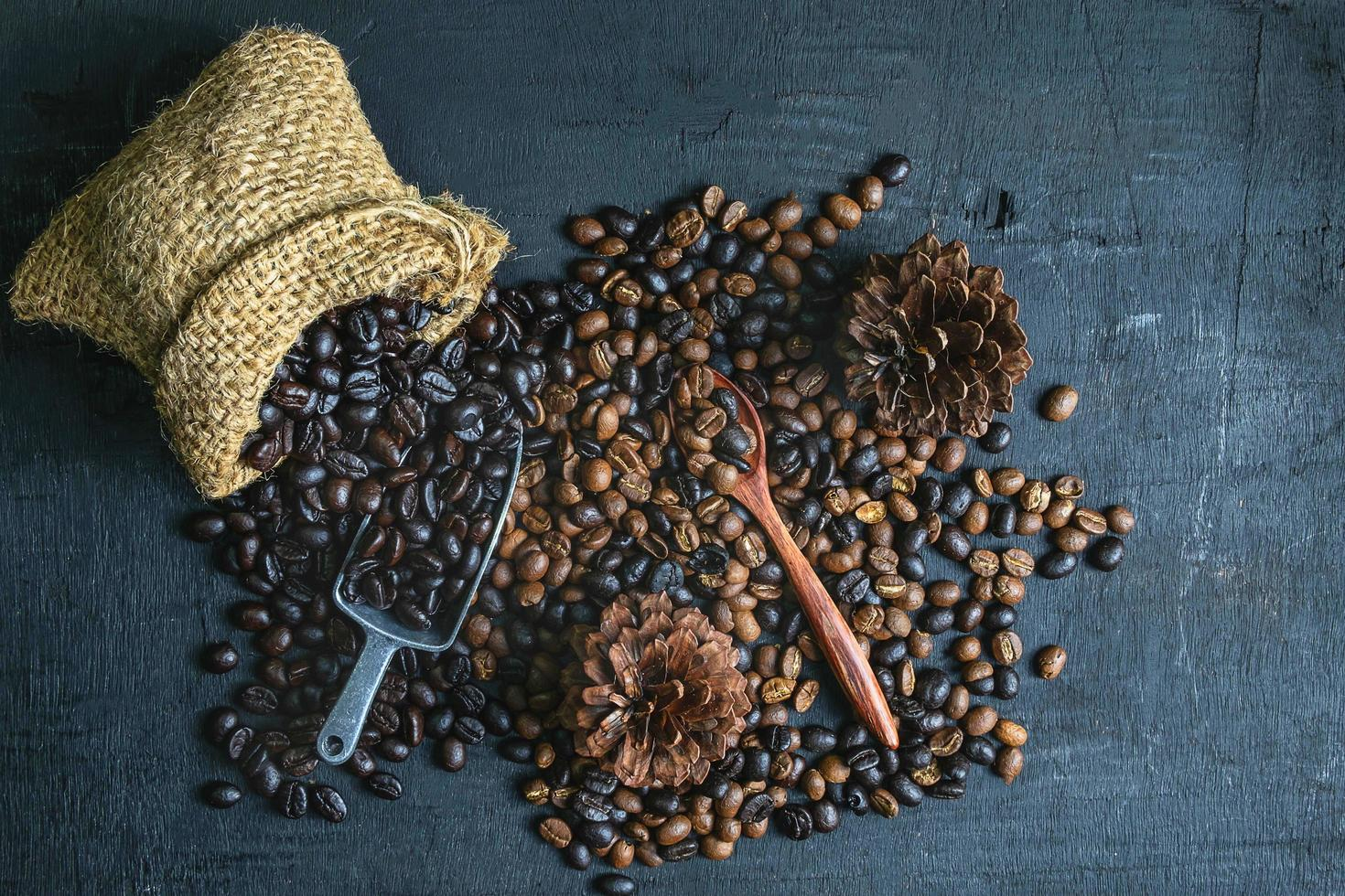 Raw coffee beans and roasted coffee beans photo