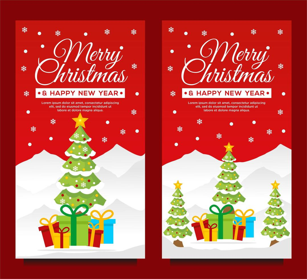 Christmas and New Year Vertical Banner Templates vector