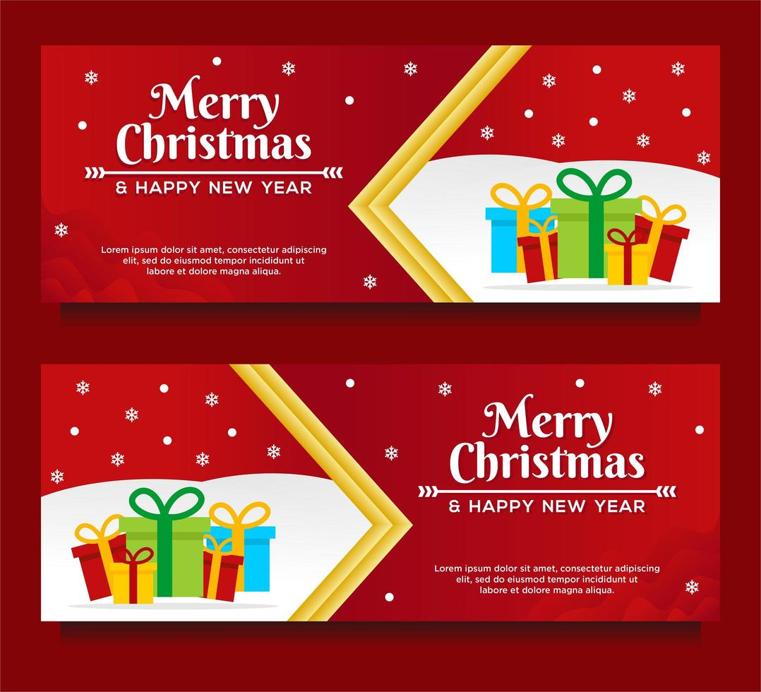 Merry Christmas and Happy New Year Banner templates vector