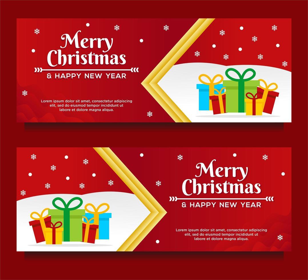 feliz navidad y próspero año nuevo plantillas de banner vector