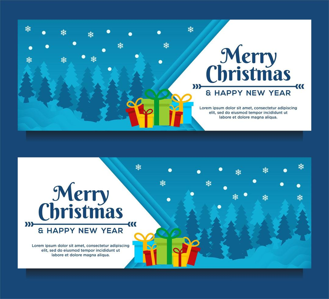 Christmas and New Year banners with trees and gifts vector