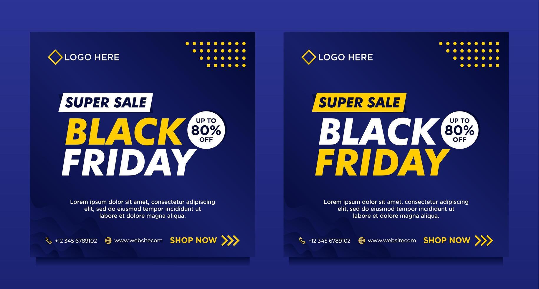 plantillas de banner de redes sociales de venta de viernes negro azul vector