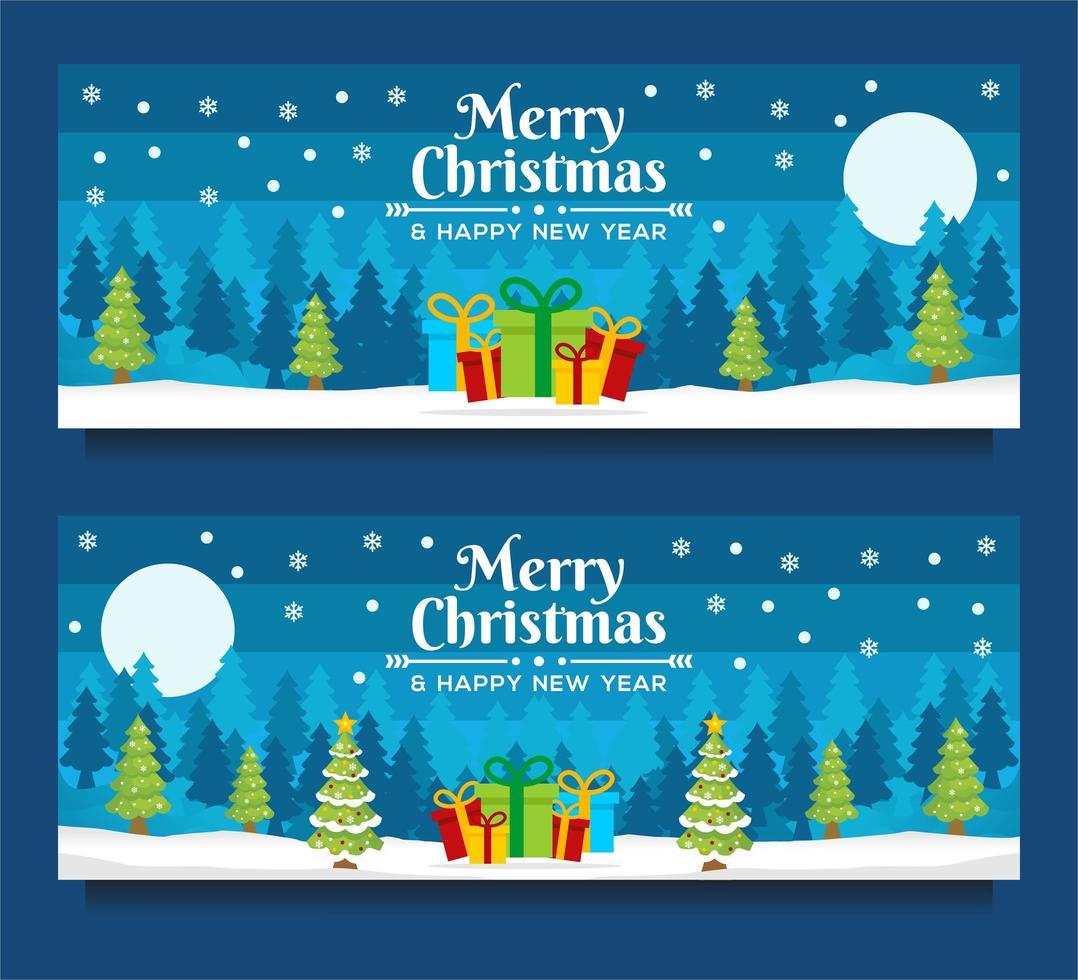 Plantillas de banner de navidad y año nuevo con escena de invierno vector