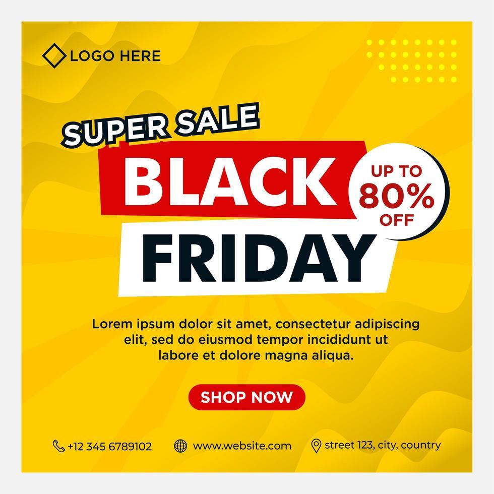 banners de eventos de redes sociales de viernes negro degradado amarillo vector
