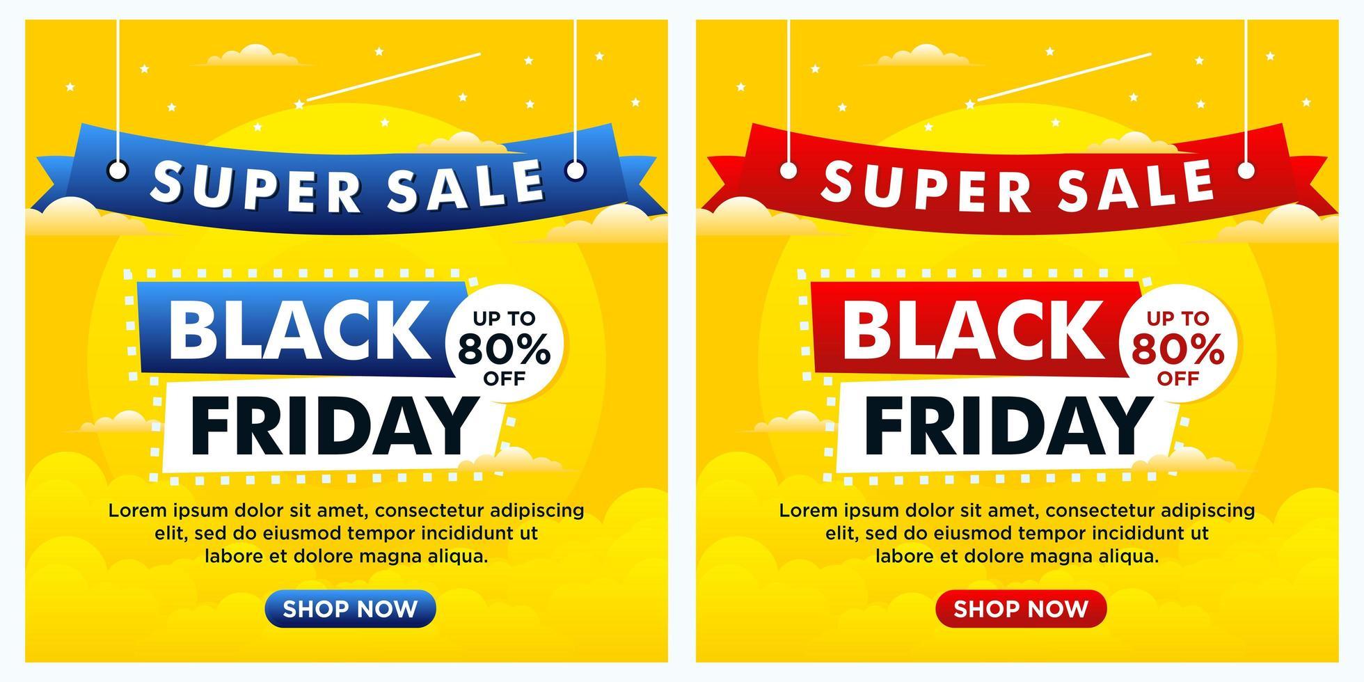 Banners de redes sociales del evento de viernes negro con tema de cielo vector