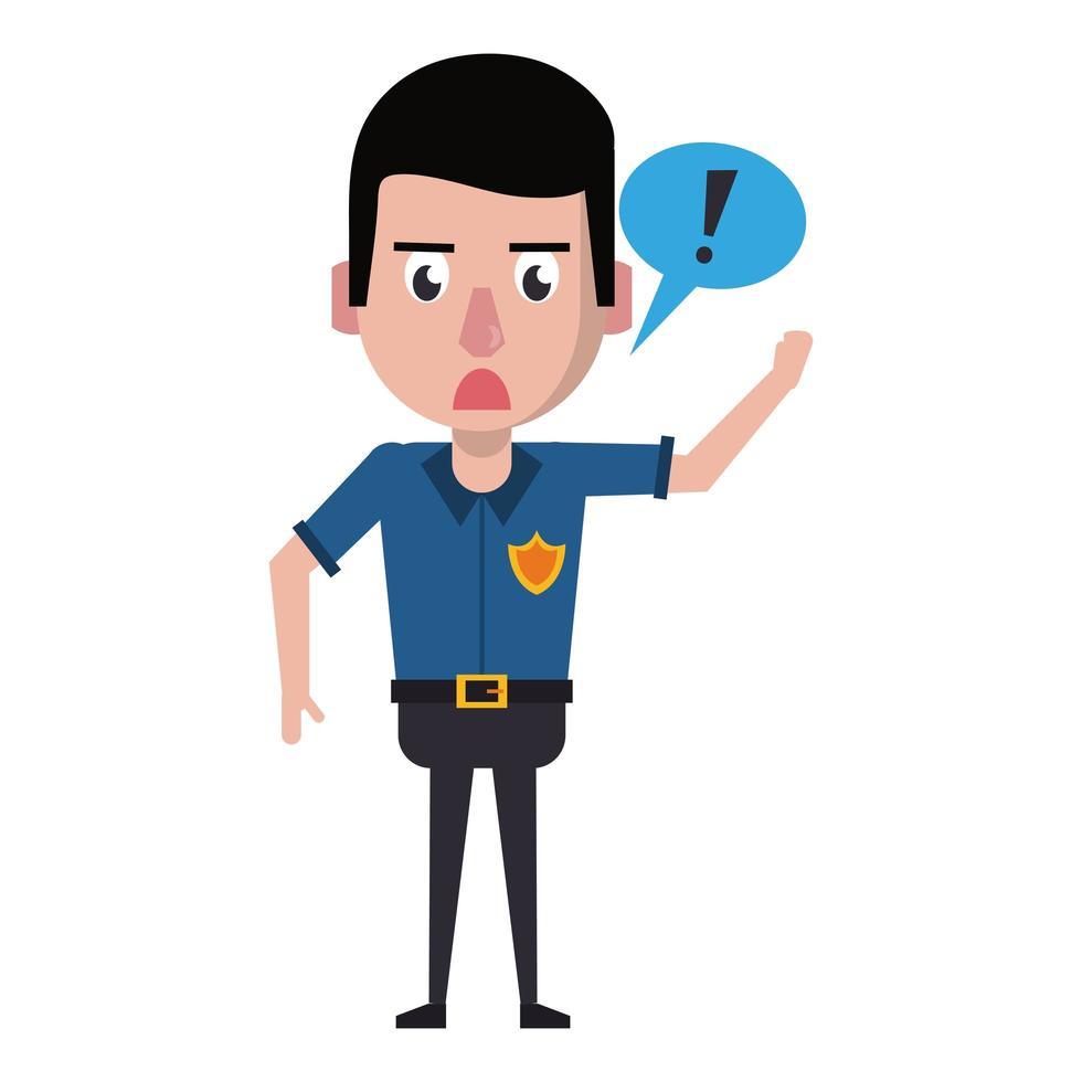 policía trabajando personaje de dibujos animados vector