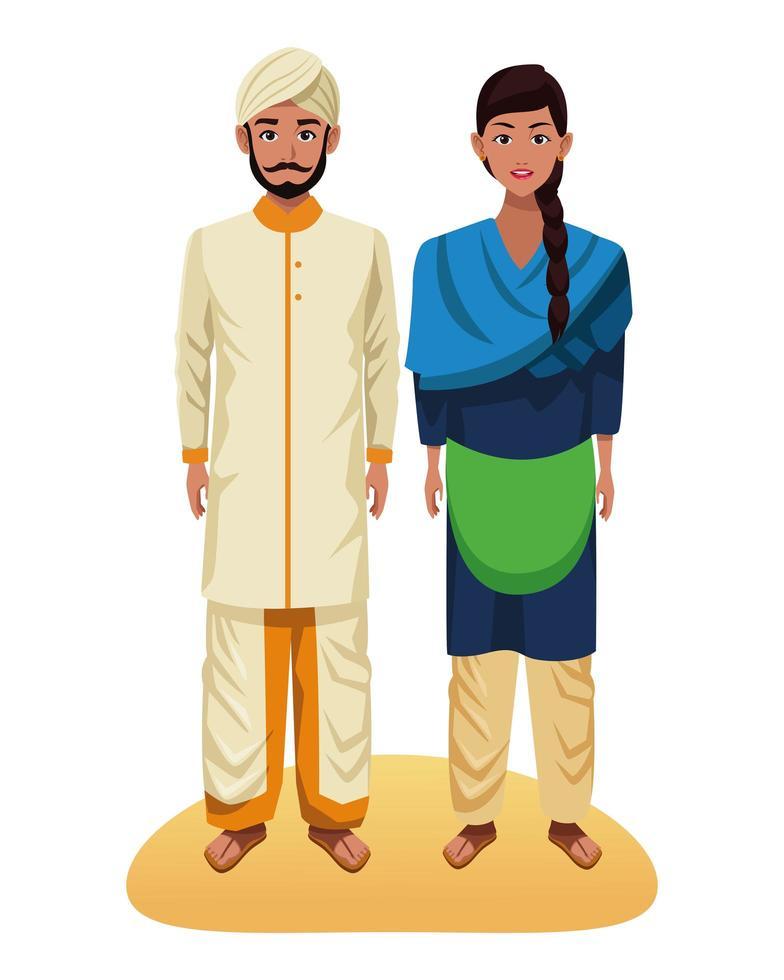 personajes de dibujos animados de pareja india vector