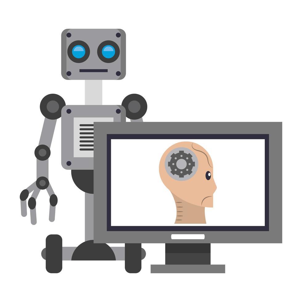 composición de dibujos animados del concepto de inteligencia artificial vector