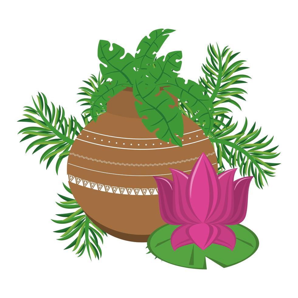 flores de loto indio en macetas de porcelana vector