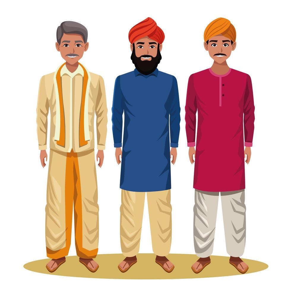 Indian men cartoon characters vector