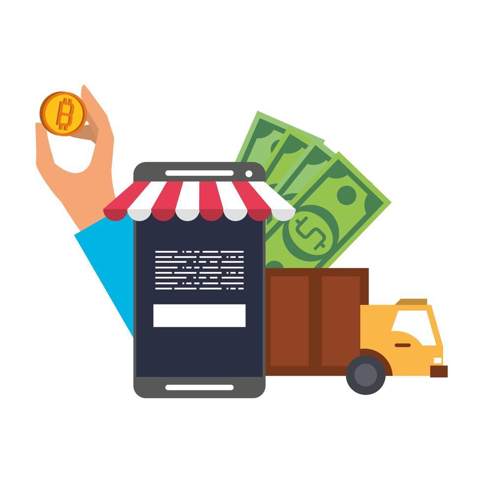bitcoin, criptomoneda y pago online vector