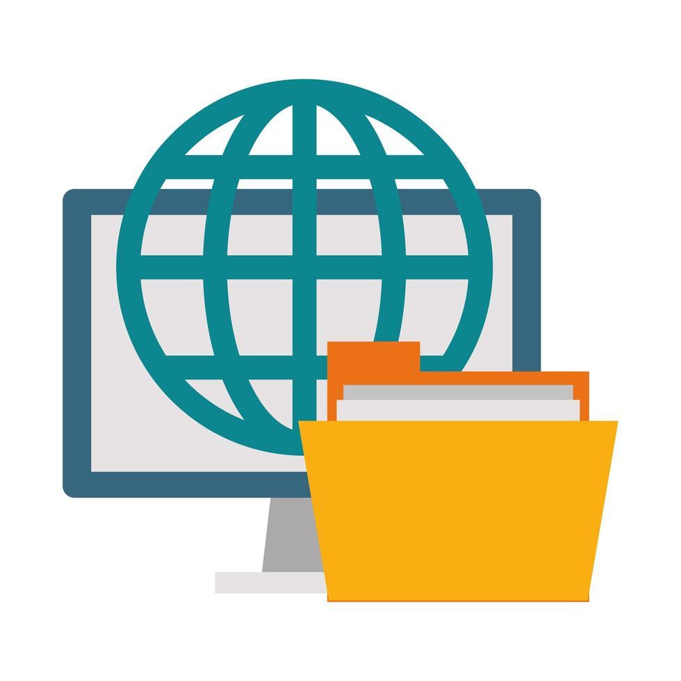 icono de tecnología de oficina y negocios vector