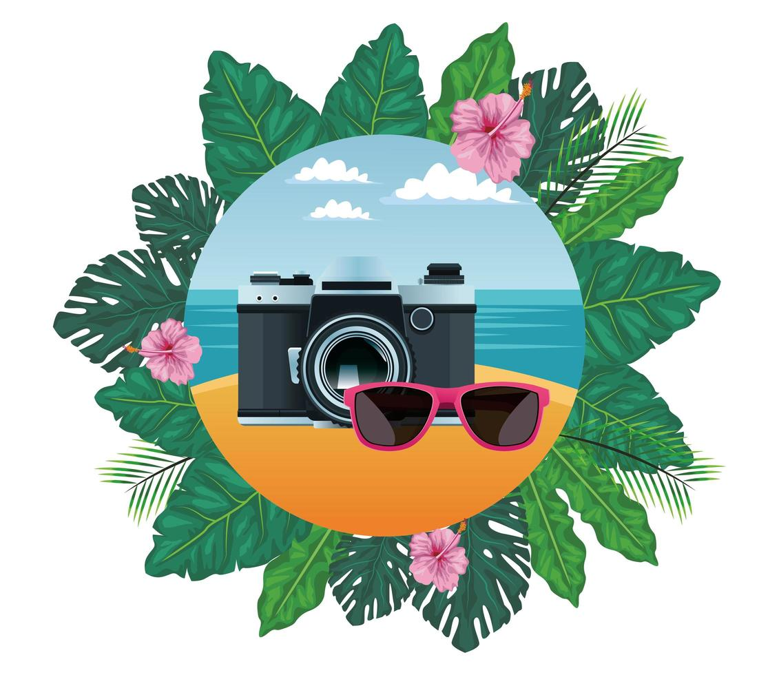 Summer, beach, and vacation composition vector