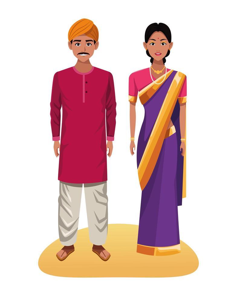 Indian couple cartoon characters vector