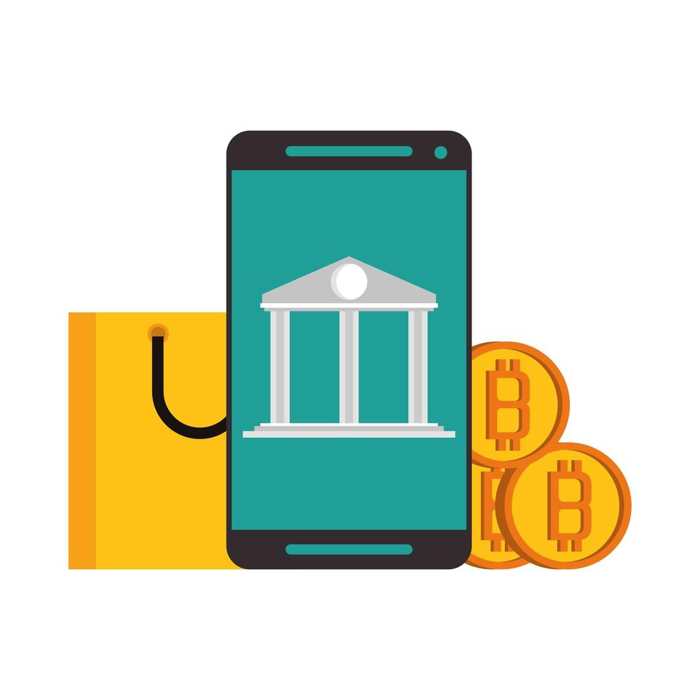 Bitcoin, cryptocurrency and online payment vector