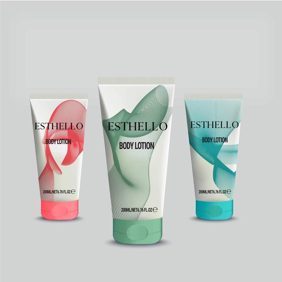 maqueta de loción corporal de tubos cosméticos vector