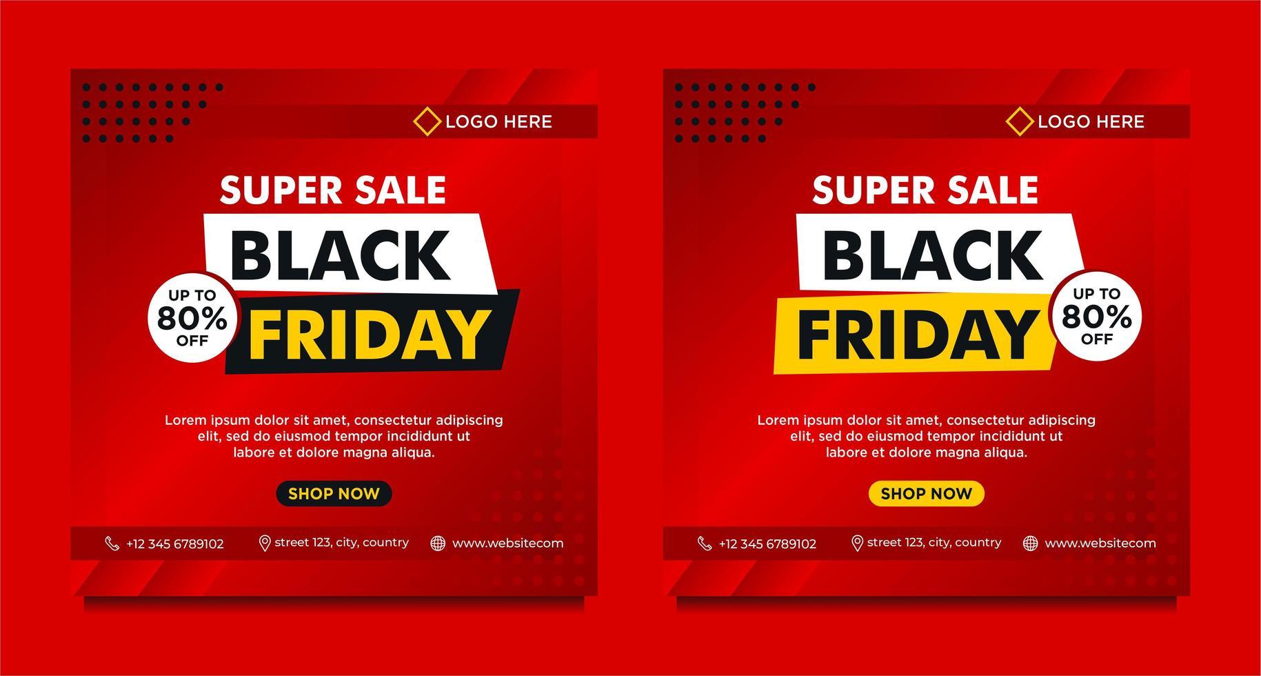 Red gradient Black Friday sale social media banner templates vector